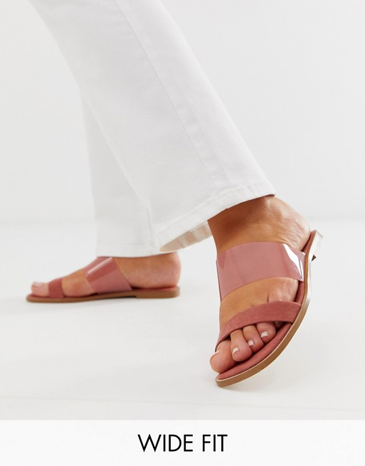 ASOS DESIGN Wide Fit Flirt clear slides