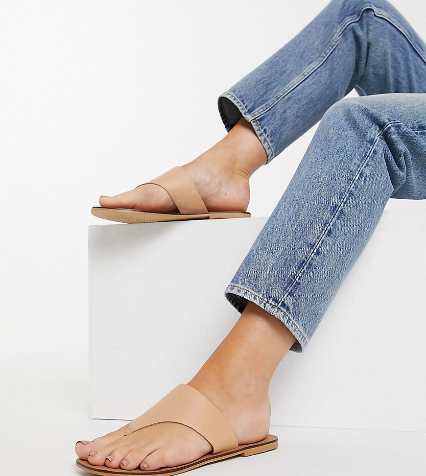 ASOS DESIGN - Wide Fit - Folly - Beige sandaler med tårem i læder-Neutral