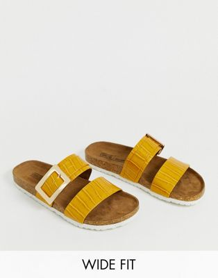 ASOS DESIGN Wide Fit Fool For You sliders in mustard croc
