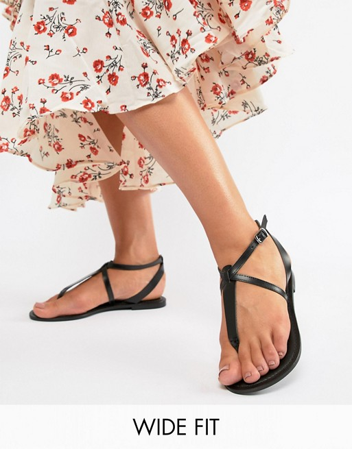 Image 1 of ASOS DESIGN Wide Fit Forbes leather flat sandals