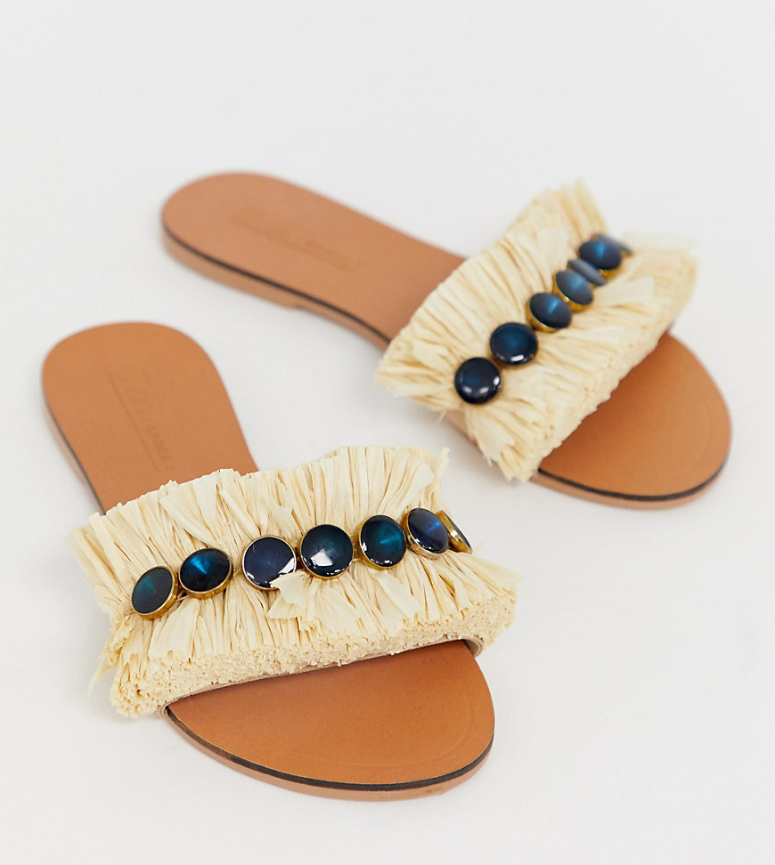 Sandals by ASOS DESIGN Who else is feeling that summer state of mind? Slip-on style Embellished strap Open toe Flat sole Wide fit Same length, just wider