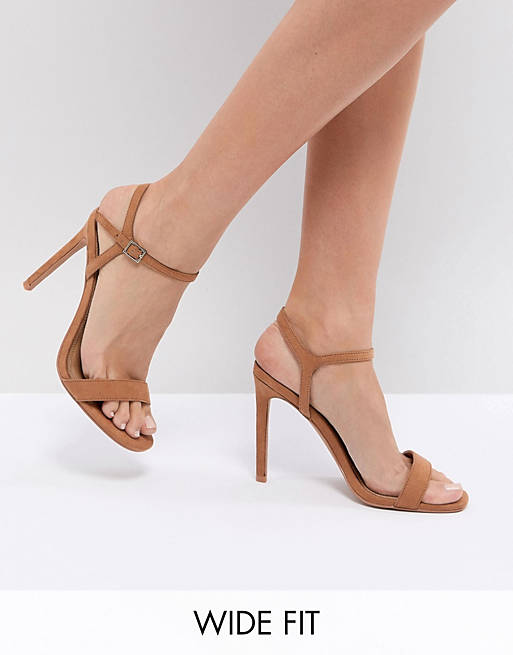 ASOS DESIGN Wide Fit Hands Down barely there heeled sandals