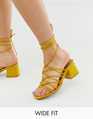 Asos Design Wide Fit Harvie Knotted Detail Sandals In Mustard by Asos Design
