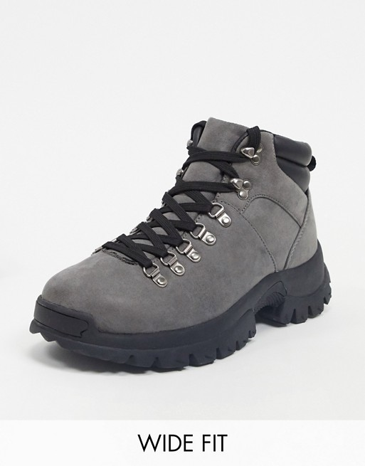 ASOS DESIGN Wide Fit hiker boots in grey faux suede