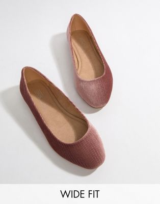 Image 1 of ASOS DESIGN Wide Fit Lassie ballet flats