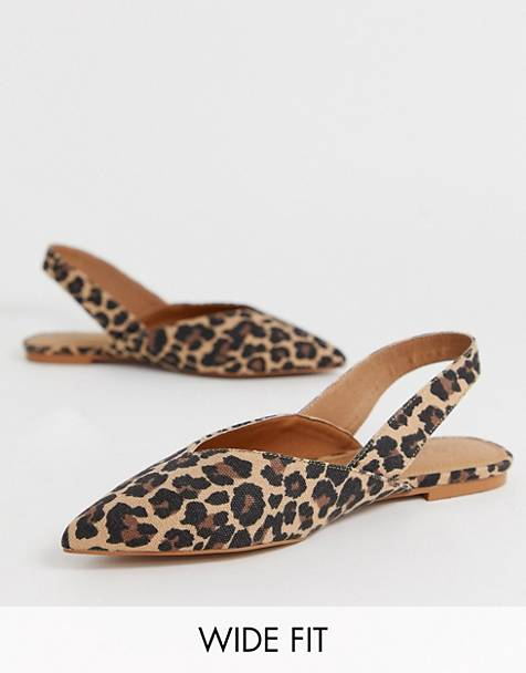 b02de0df7 ASOS DESIGN Wide Fit Leisure high vamp slingback ballet flats in leopard