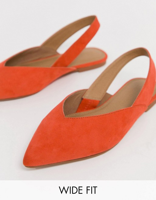 ASOS DESIGN Wide Fit Leisure high vamp slingback ballet flats in orange