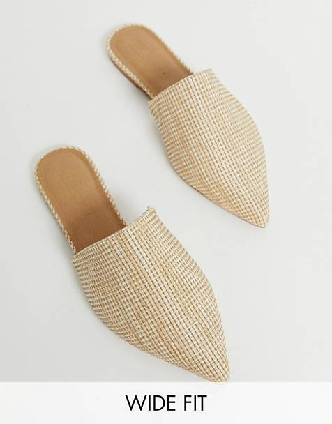 ASOS DESIGN Wide Fit Lorne pointed mules in natural