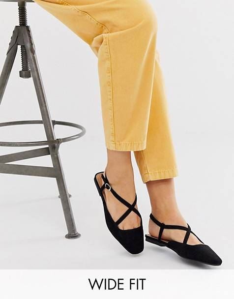ASOS DESIGN Wide Fit Loyal ballet flats in black