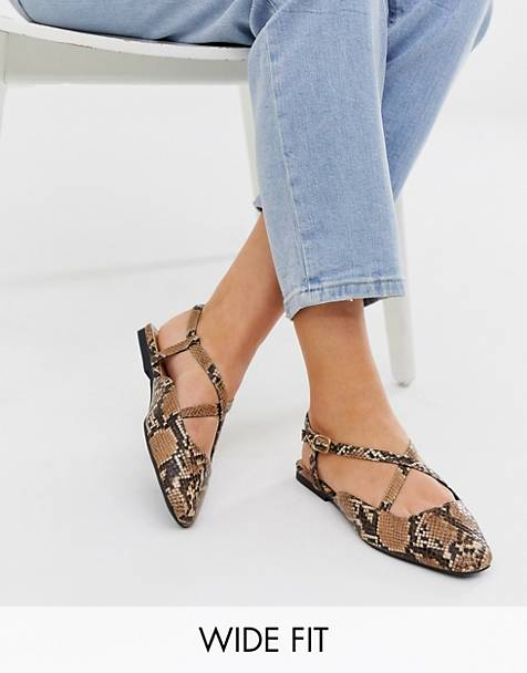 ASOS DESIGN Wide Fit Loyal ballet flats in snake