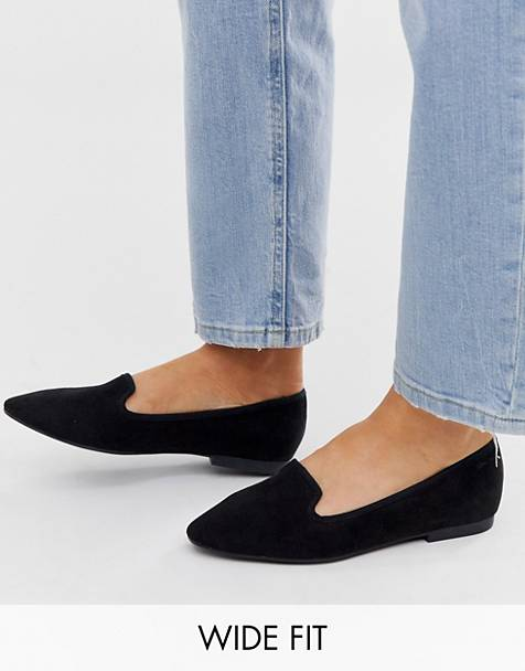 ASOS DESIGN Wide Fit Lychee ballet flats in black