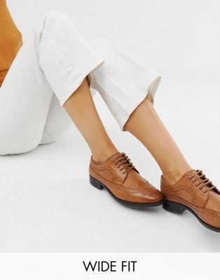 Image 1 of ASOS DESIGN Wide Fit Mai Tai leather brogues