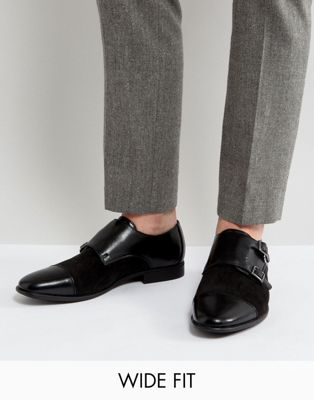 Image 1 of ASOS DESIGN Wide Fit monk shoes in faux black leather