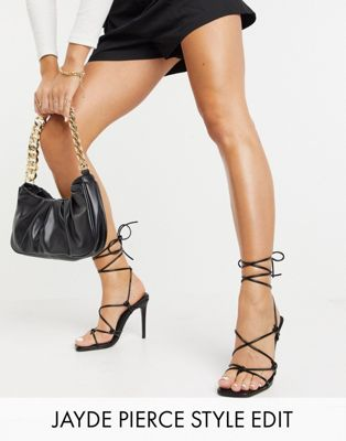 ASOS DESIGN Wide Fit Nicole strappy tie leg heeled sandals in black