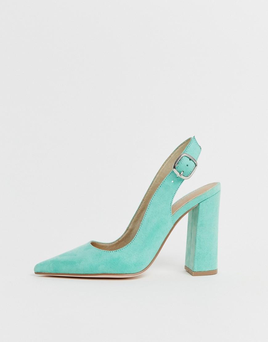 Asos Design Wide Fit Penley Slingback High Block Heels In Aqua by Asos Design