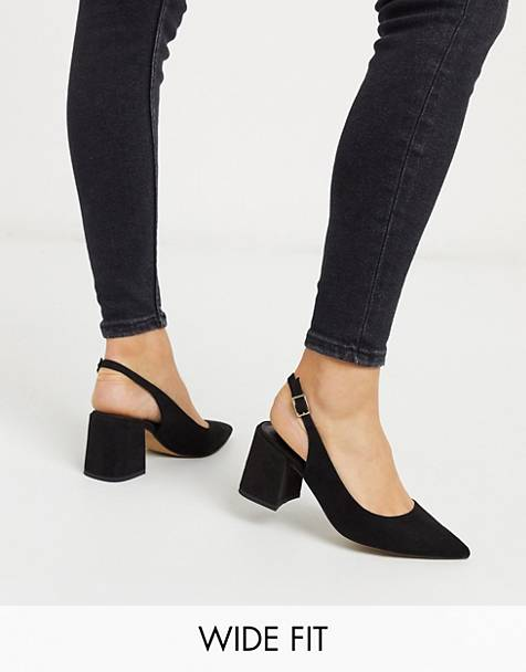 ASOS DESIGN Wide Fit Sammy slingback mid heels in black