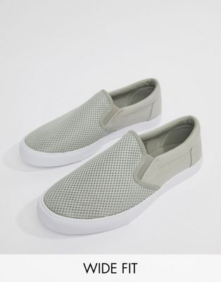 ASOS DESIGN Wide Fit slip on plimsolls in grey mesh