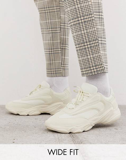 ASOS DESIGN Wide Fit sneakers in off white with chunky sole