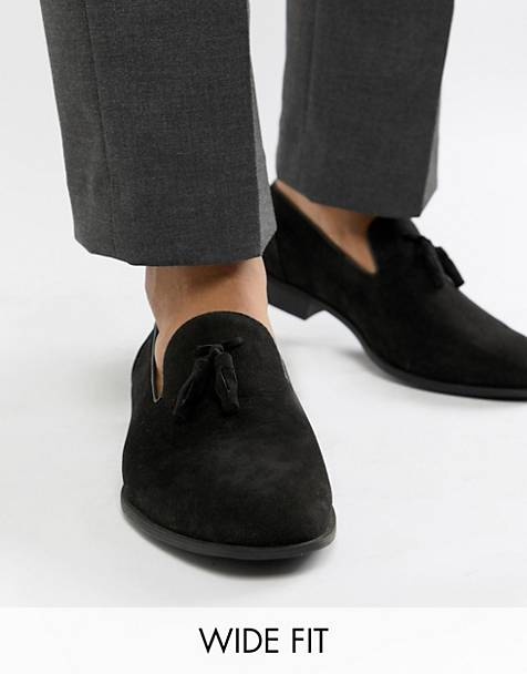 ASOS DESIGN Wide Fit tassel loafers in black faux suede
