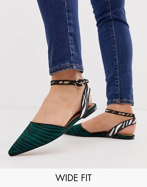 ASOS DESIGN Wide Fit Valuate pointed ballet flats in zebra mix
