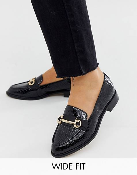 ASOS DESIGN Wide Fit Vapor snaffle loafer in black