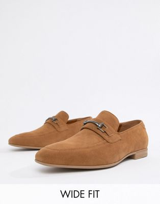 ASOS DESIGN Wide Fit vegan friendly loafers in tan faux suede with snaffle detail