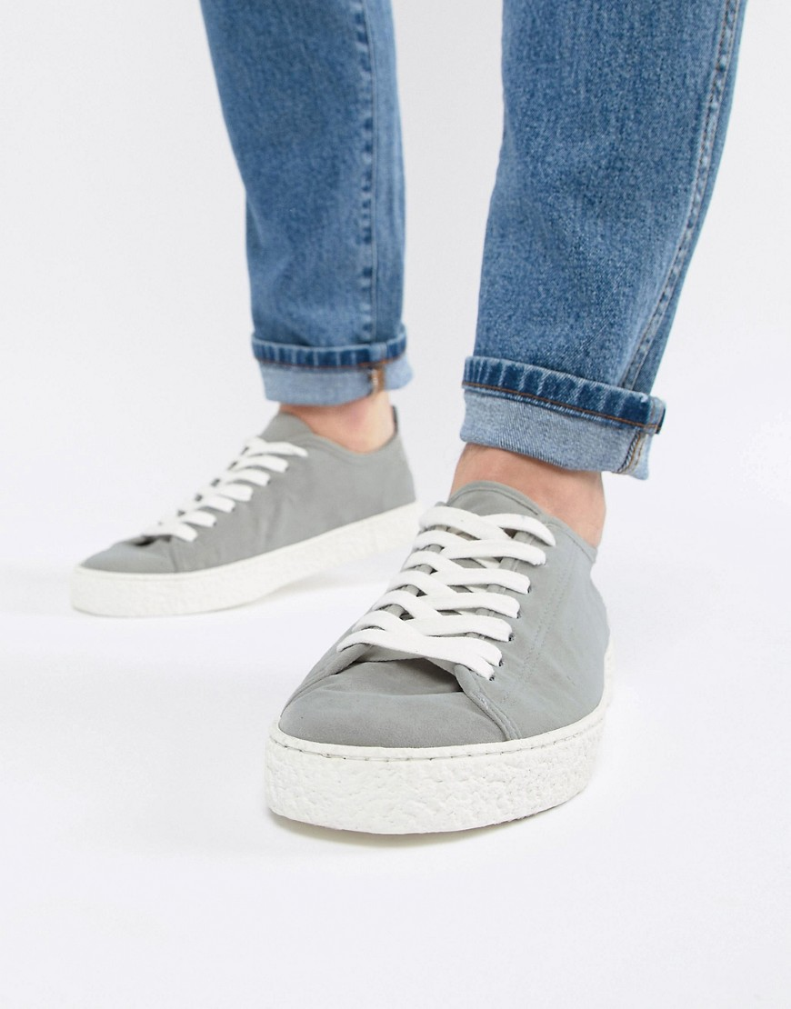 Asos Design Wide Fit Vegan Friendly Trainers In Grey Faux Suede With Crepe Look Sole by Asos Design