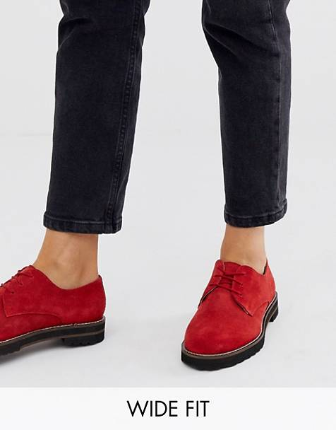 ASOS DESIGN Wide Fit Virtual leather lace up flat shoes in red