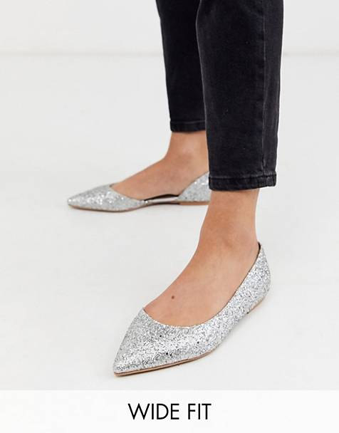 ASOS DESIGN Wide Fit Virtue d'orsay pointed ballet flats in silver glitter