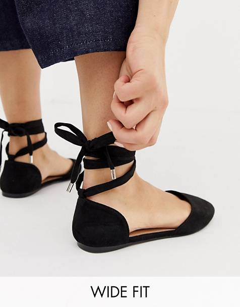 ASOS DESIGN Wide Fit Voyage tie leg ballet flats in black