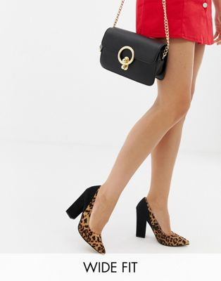 ASOS DESIGN Wide Fit Washington block heeled pumps in leopard and black