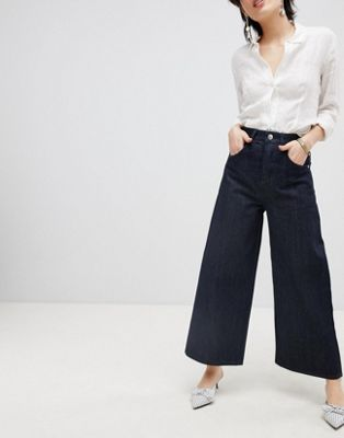 ASOS DESIGN wide leg jeans in clean indigo