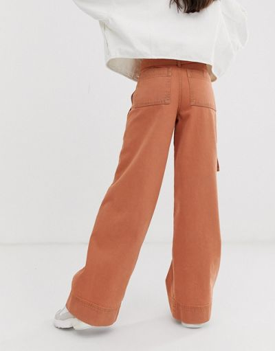 ASOS DESIGN wide leg jeans with belt detail in terracotta wash
