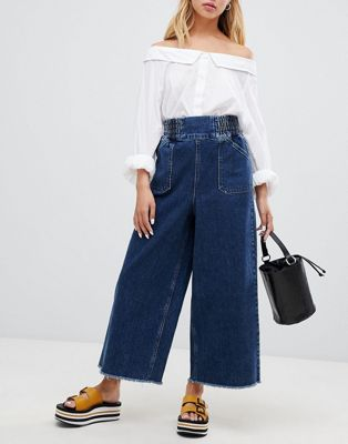 ASOS DESIGN wide leg jeans with Elasticated waistband