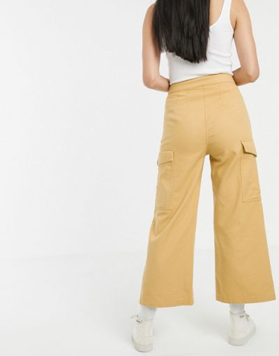 ASOS DESIGN wide leg lightweight jean with button detail in marigold