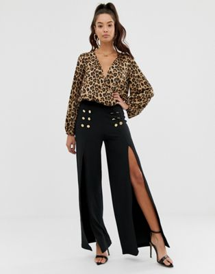 Image 1 of ASOS DESIGN wide leg trousers in jersey crepe with split and button detail
