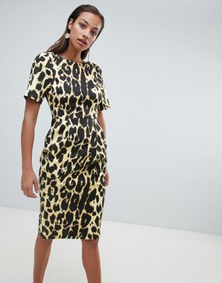 ASOS DESIGN wiggle midi dress in leopard print