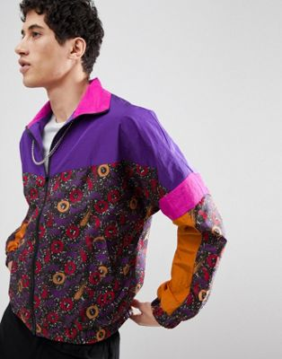Image 1 of ASOS DESIGN Windbreaker Track Jacket In Purple Print
