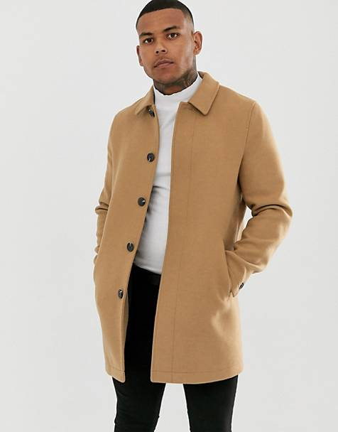 ASOS DESIGN wool mix coat in camel