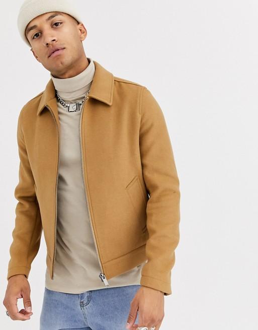 ASOS DESIGN wool mix harrington jacket in camel