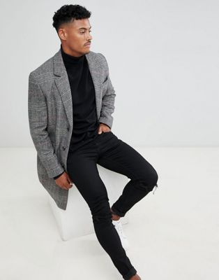 ASOS DESIGN wool mix overcoat in check