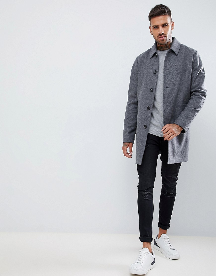 Asos Design Wool Mix Trench Coat In Light Grey by Asos Design