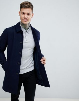 ASOS DESIGN wool mix trench coat in navy