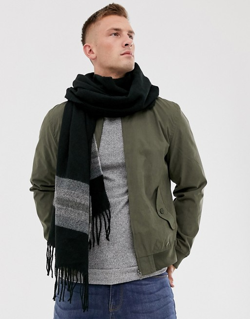 Asos Design Woven Blanket Scarf In Black With Stripe Detail by Asos Design