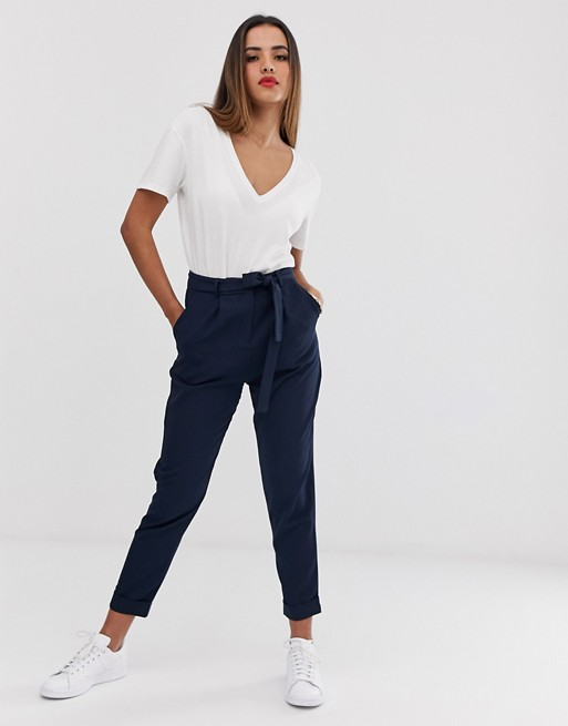 ASOS DESIGN Woven Peg Trousers with Obi Tie