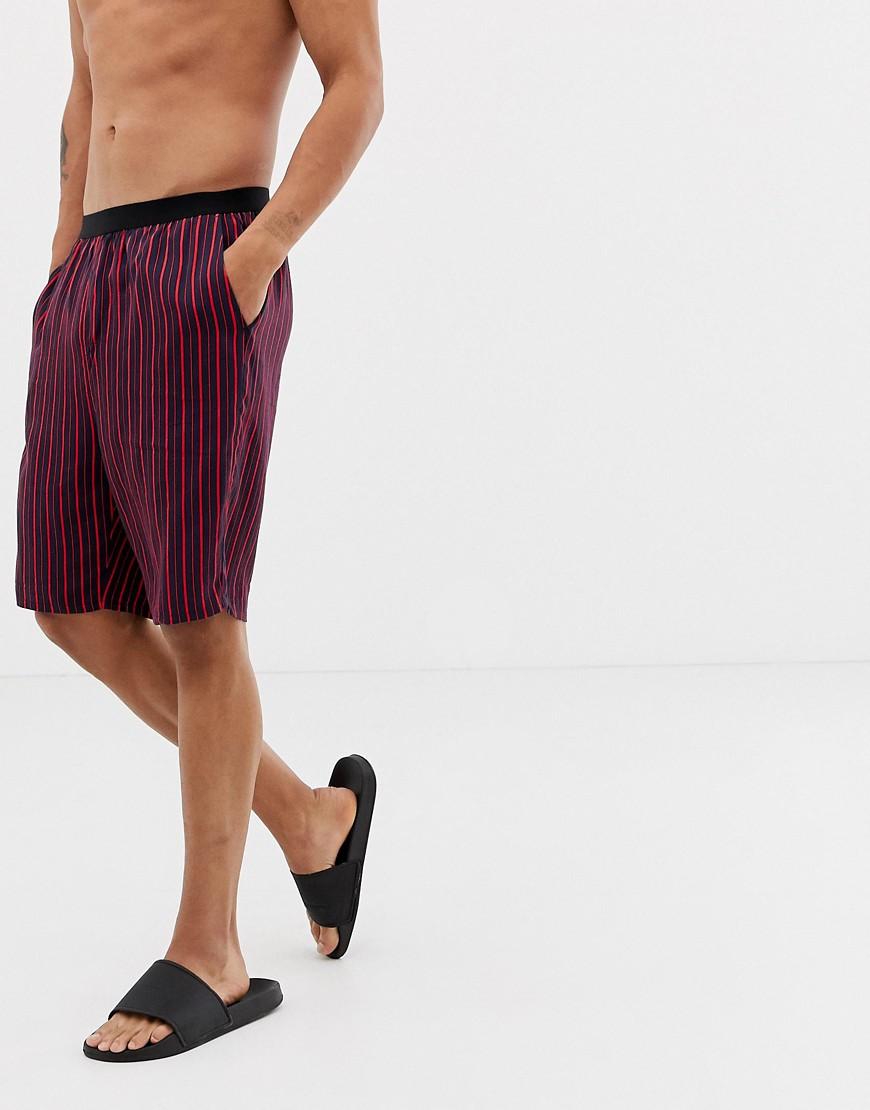 Asos Design Woven Pyjama Set In Navy &Amp;Amp; Red Stripe by Asos Design