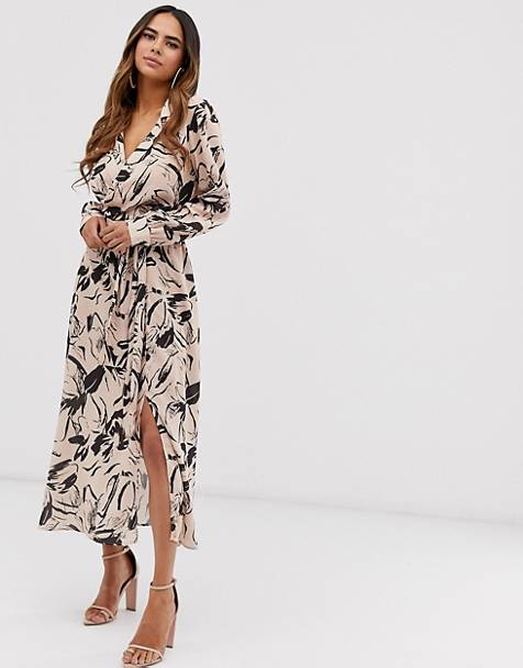 a367f7dce08 ASOS DESIGN wrap front midi dress in abstract floral print