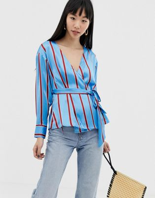 Image 1 of ASOS DESIGN wrap long sleeve top in stripe two-piece