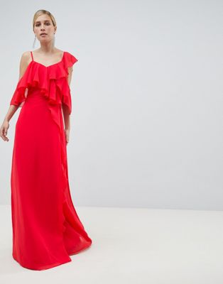 ASOS DESIGN Wrap Maxi Dress With Ruffles