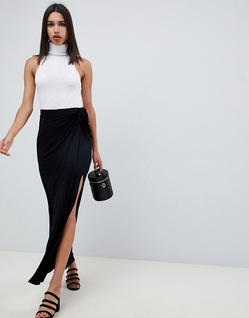ASOS DESIGN wrap maxi skirt with tie waist and split